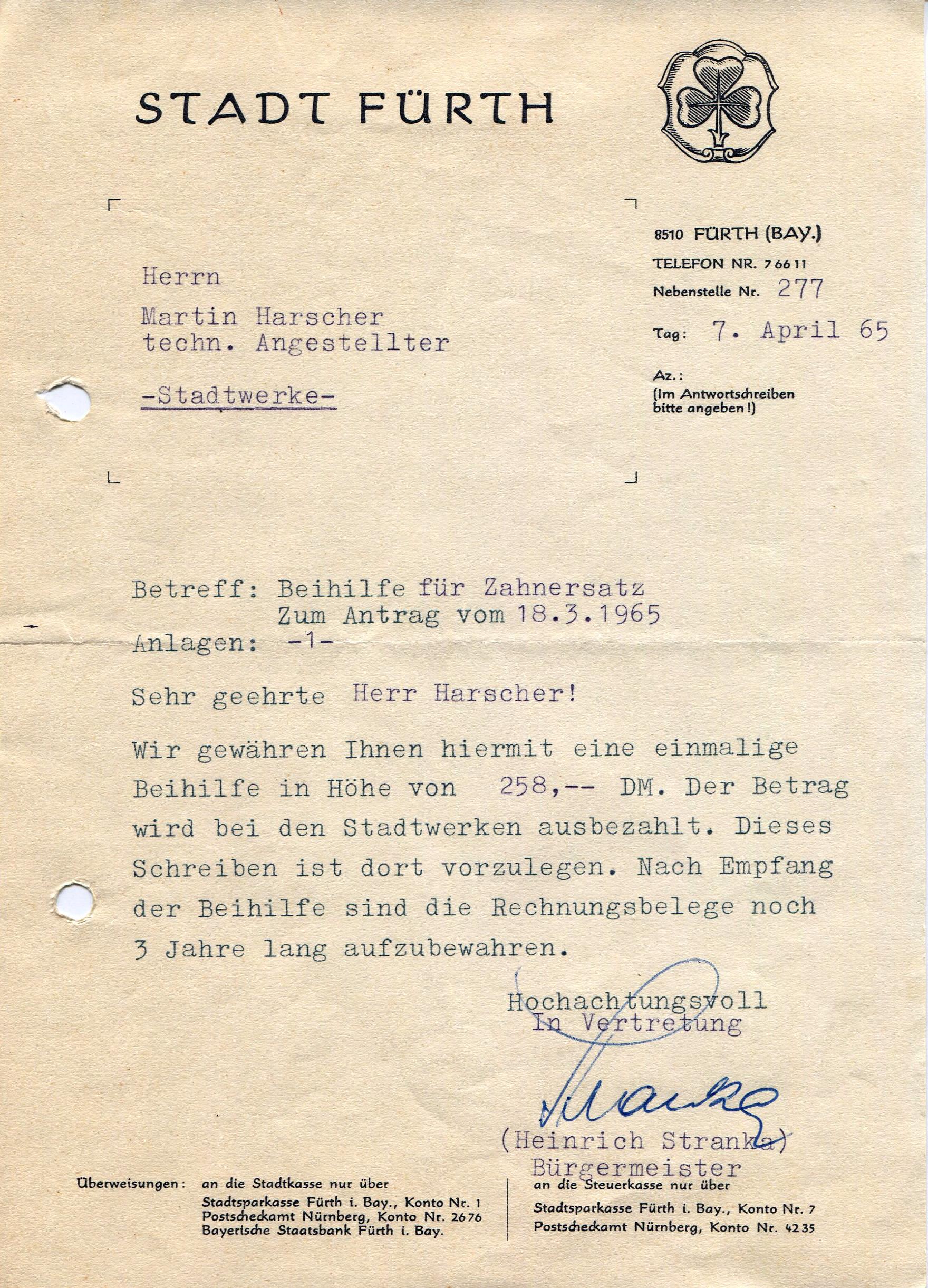 Dateibriefkopf Stadt Fürth 1965jpg Fürthwiki